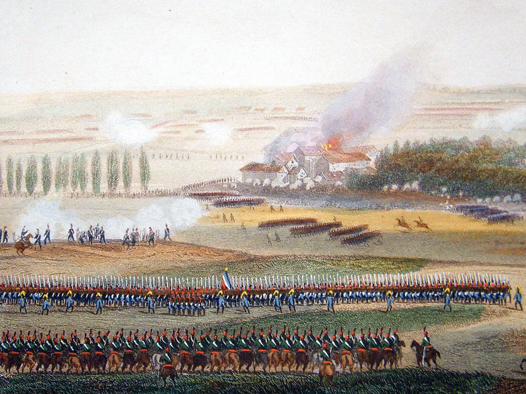 French resisting the Prussian advance at Papalotte during the Battle of Waterloo on 18th June 1815