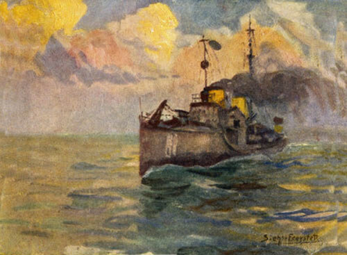 German destroyer at sea: Battle of Heligoland Bight on 28th August 1914 in the First World War: picture by JG Siehl Freystett