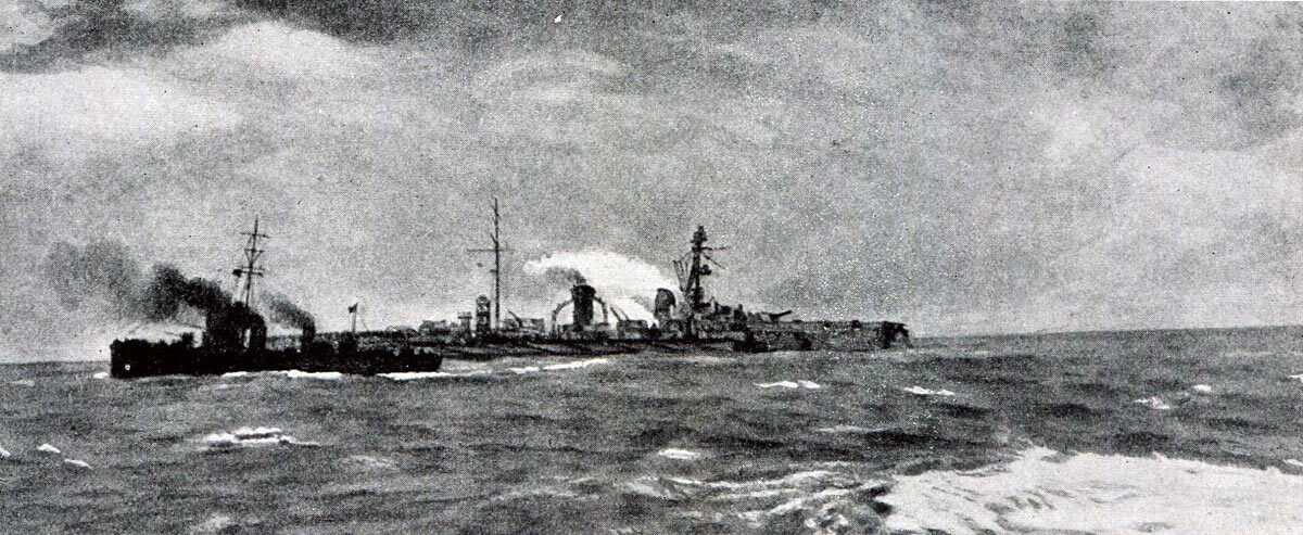 The German armoured cruiser SMS Blucher badly damaged in the Battle of Dogger Bank on 24th January 1915 in the First World War: the British light cruiser HMS Arethusa is in the foreground preparing to rescue members of Blucher's crew