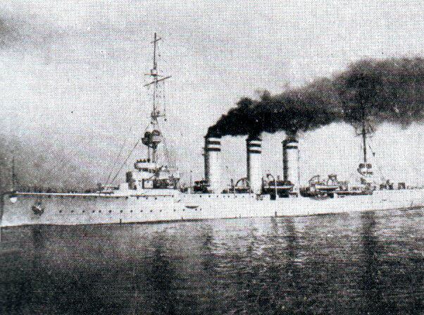 SMS Mainz, the German light cruiser sunk during the Battle of Heligoland Bight on 28th August 1914 in the First World War