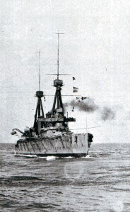 HMS Inflexible, British battlecruiser badly damaged by Turkish shore based artillery fire on 18th March 1915