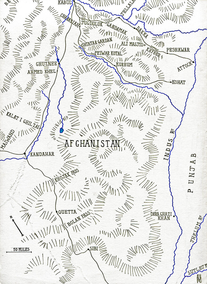 Map of Afghanistan: Battle of Ghuznee on 23rd July 1839: map by John Fawkes