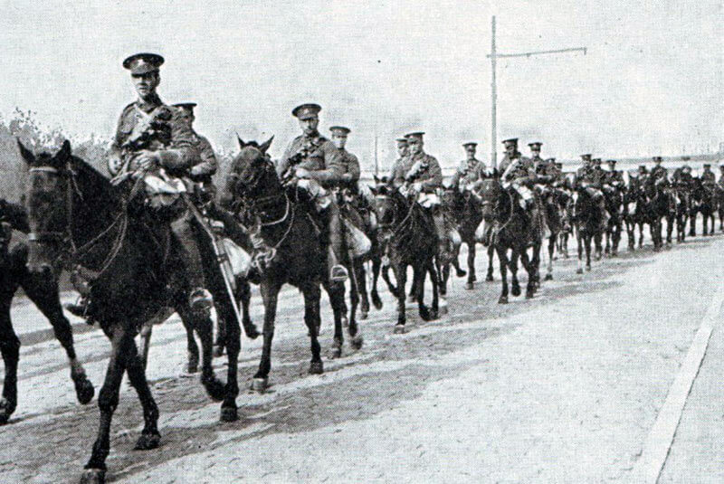 British Cavalry on the march: First Day of the Retreat from Mons and the Battle around Elouges and Audregnies, fought on 24th August 1914 in the First World War