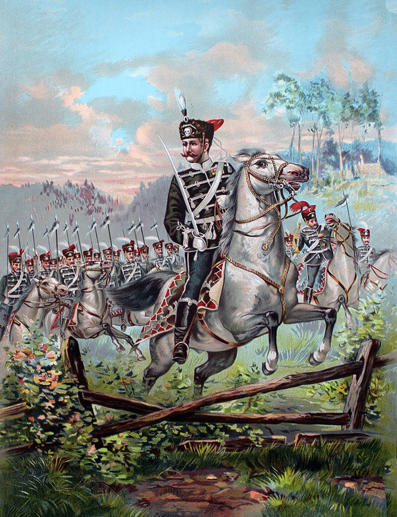 German hussar regiment during peace time manoeuvres: Battle of Néry on 1st September 1914 in the First World War