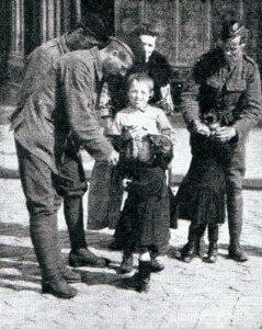 'Jocks' fraternising with French children during the advance to the Marne River