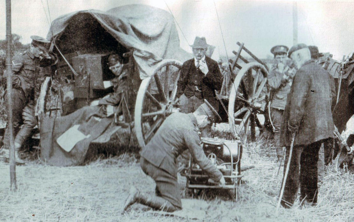 A Royal Engineers wireless cart operating during peacetime manoeuvres: Battle of Le Cateau on 26th August 1914 in the First World War