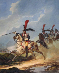 Colonel of the 8th Cuirassiers: Battle of Waterloo on 18th June 1815: picture by Denis Dighton