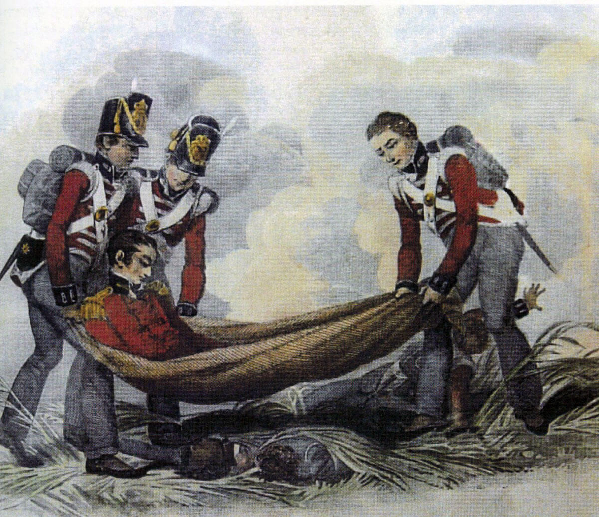 Fatally wounded Colonel Sir Alexander Gordon carried from the field at the Battle of Waterloo on 18th June 1815
