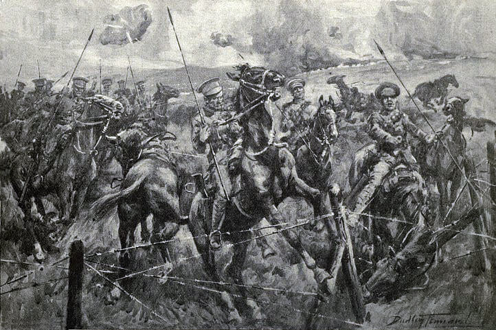 9th Lancers encounter a barbed wire fence in the course of their charge: First Day of the Retreat from Mons and the Battle around Elouges and Audregnies, fought on 24th August 1914 in the First World War