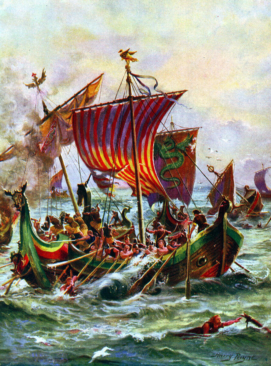 King Alfred's ships fighting marauding Vikings: Battle of Ashdown 8th January 871 AD in the Danish Wars: picture by Harry Payne