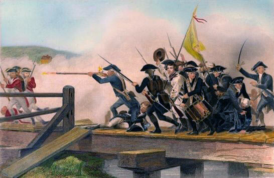 Fight for Concord Bridge: Battle of Lexington and Concord 19th April 1775 American Revolutionary War: picture by by Alonzo Chapell