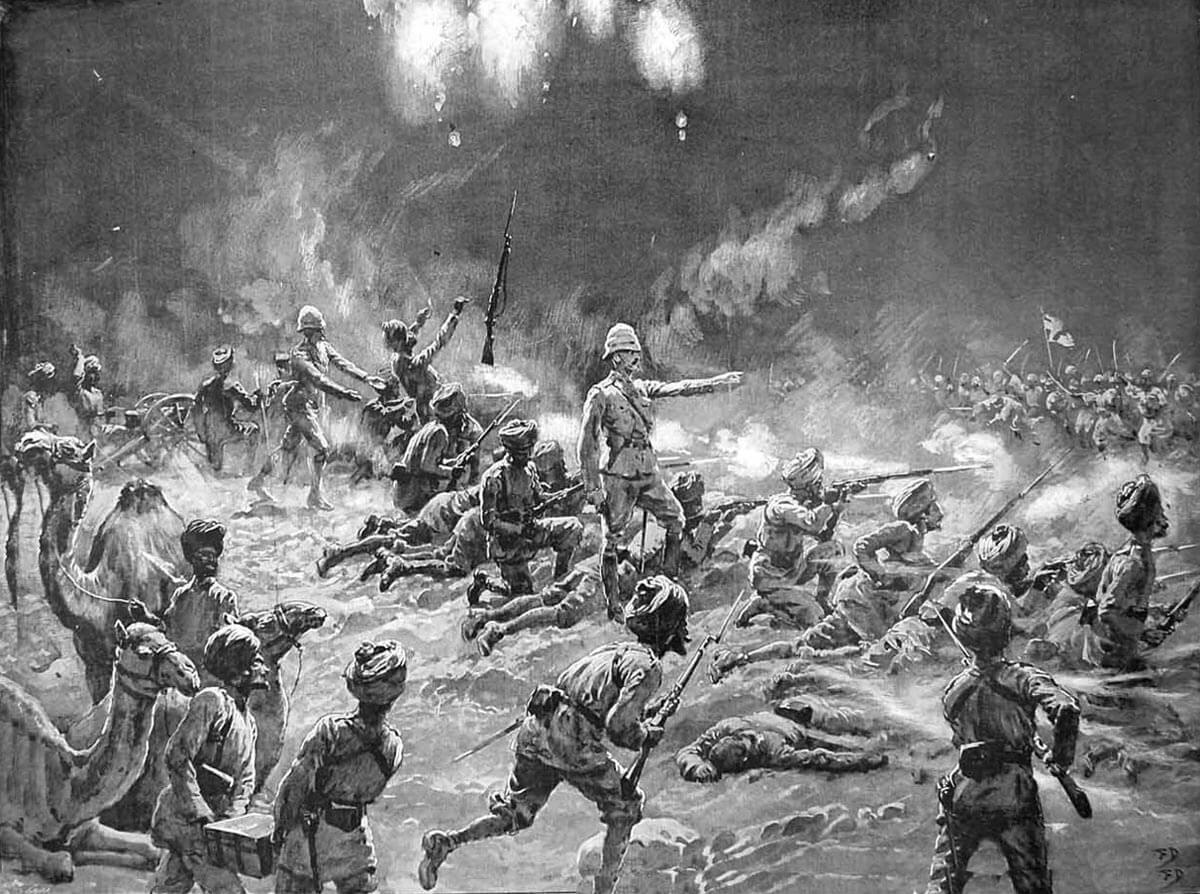 Night attack on the Nawagai Camp on 20th September 1897: Malakand Field Force, 8th September 1897 to 12th October 1897 on the North-West Frontier of India: picture by Frank Dadd