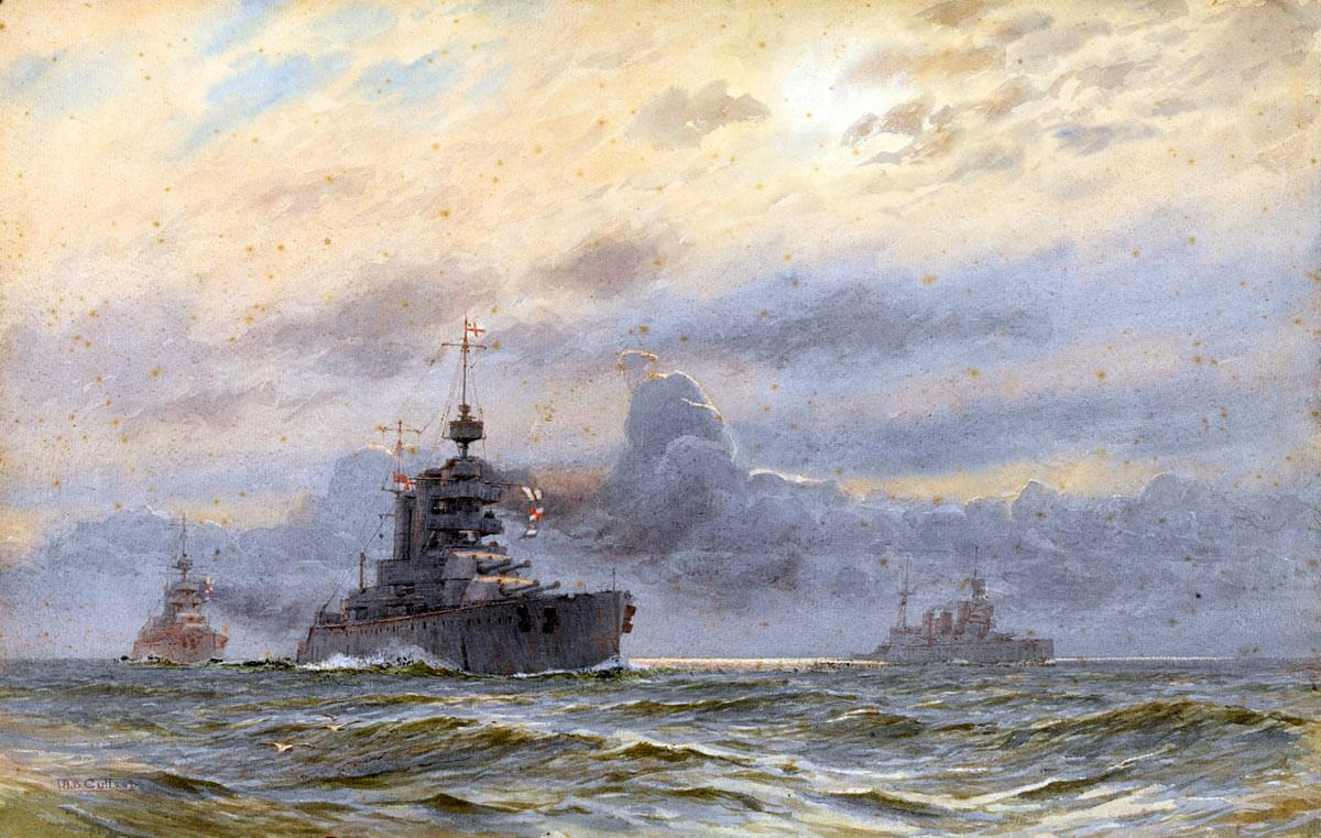 British battle cruisers HMS Lion, Princess Royal and New Zealand: Battle of Heligoland Bight on 28th August 1914 in the First World War: picture by AB Cull