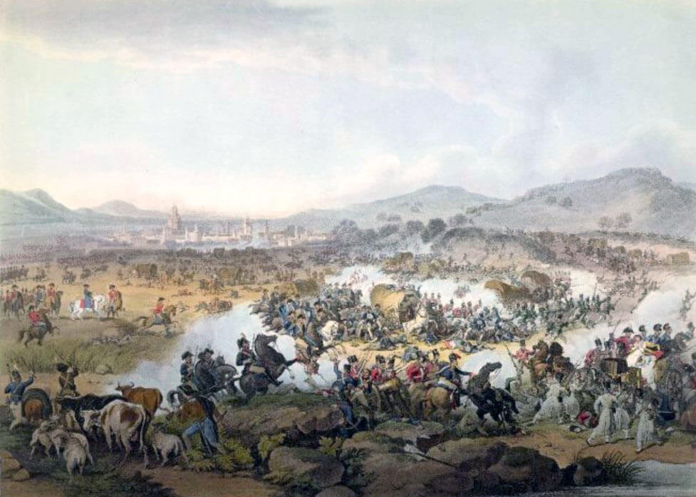 Battle of Vitoria on 21st June 1813 during the Peninsular War: print by John Hassell
