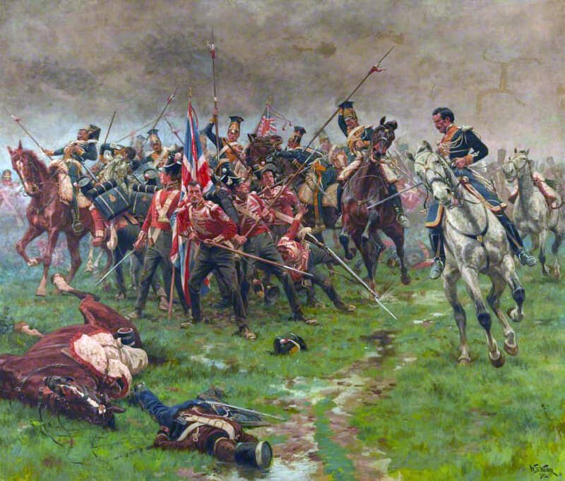 Polish Lancers attacking the Colour Party of the 3rd Buffs at the Battle of Albuera on 16th May 1811 in the Peninsular War: picture by William Barnes Wollen