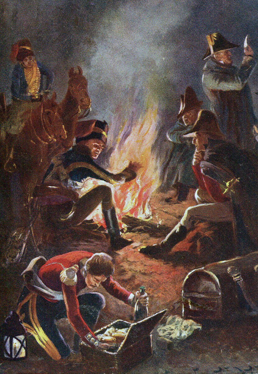 British bivouac night before the Battle of Busaco on 27th September 1810 in the Peninsular War: picture by Richard Caton Woodville