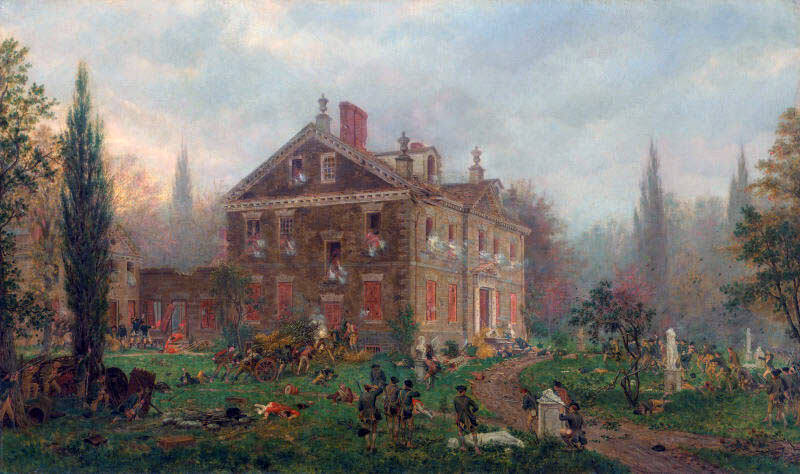 The American attack on the Chew House at the Battle of Germantown on 4th October 1777 in the American Revolutionary War: picture by Edward Lamson Henry