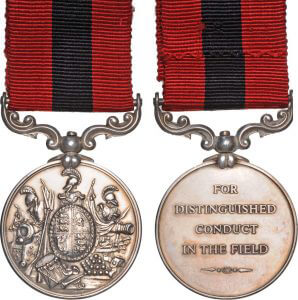 The Victorian Distinguished Conduct Medal: 4 soldiers of the Buffs were awarded the DCM for their conduct at Bilot, on the night of 16th September 1897: Malakand Field Force, 8th September 1897 to 12th October 1897 on the North-West Frontier of India