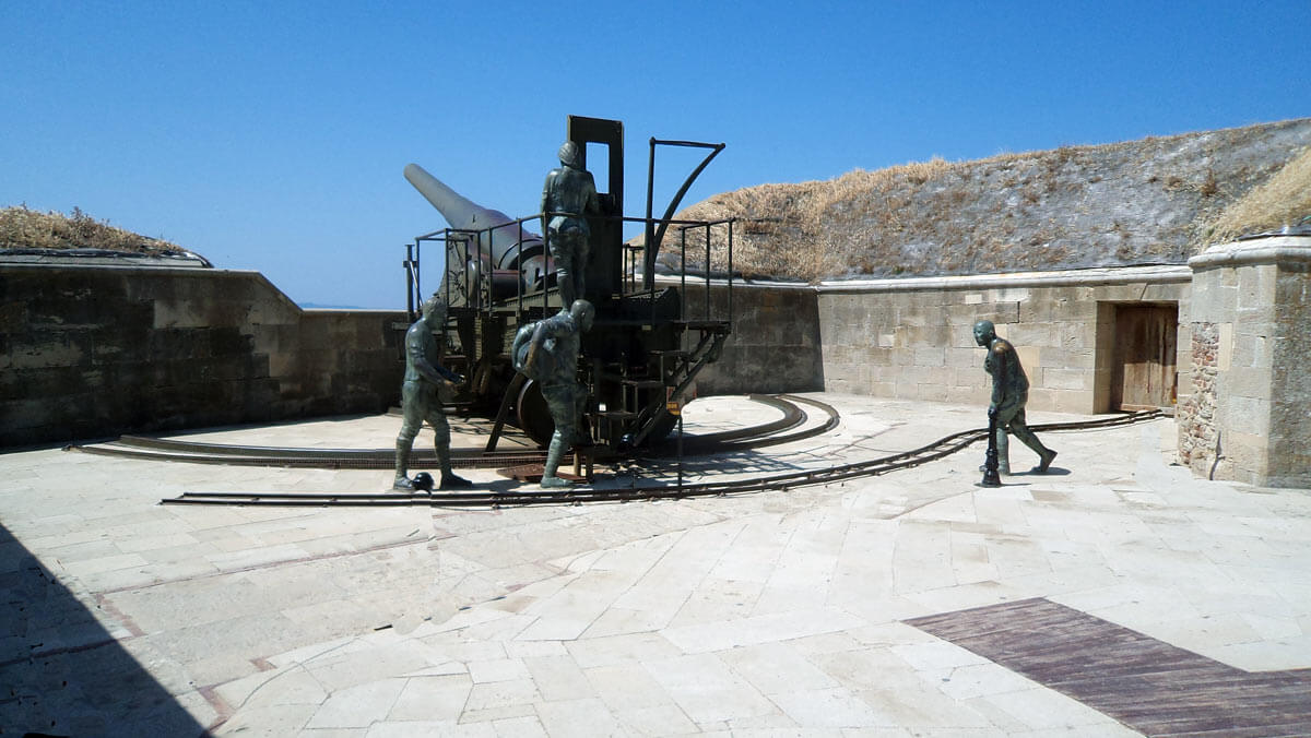 Reconstructed Turkish heavy gun site at the Dardanelles Straits before the bombardment by the British and French fleets: Gallipoli campaign Part I: the Naval Bombardment, March 1915 in the First World War