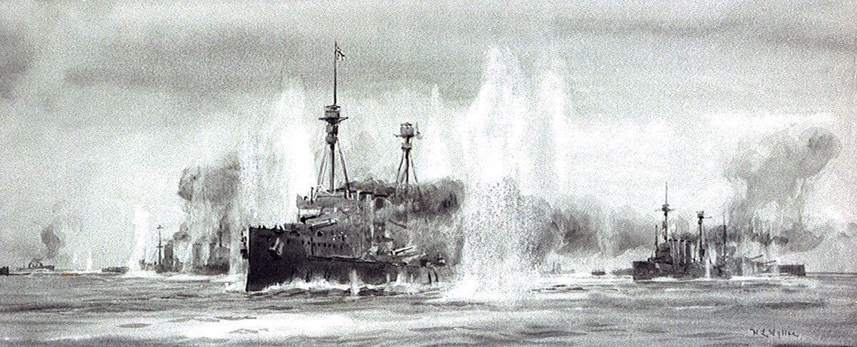 Defence and Warrior passing the Battle Cruiser Squadron at the Battle of Jutland: picture by Lionel Wyllie