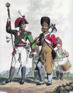 Drum Major, Pioneer and Drummers of a British Regiment of Infantry: Battle of Busaco on 27th September 1810 in the Peninsular: picture by Charles Hamilton Smith