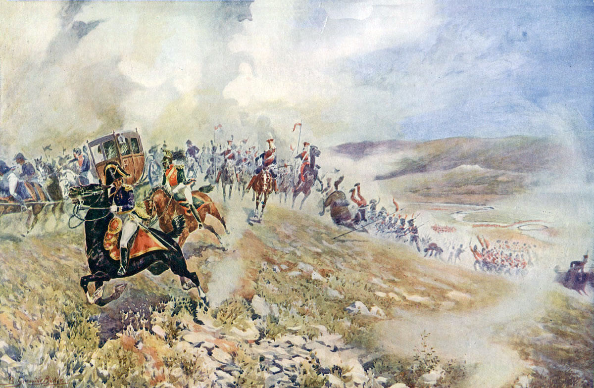 Joseph Napoleon escaping after the Battle of Vitoria on 22nd July 1812 during the Peninsular War: picture by B. Granville Baker
