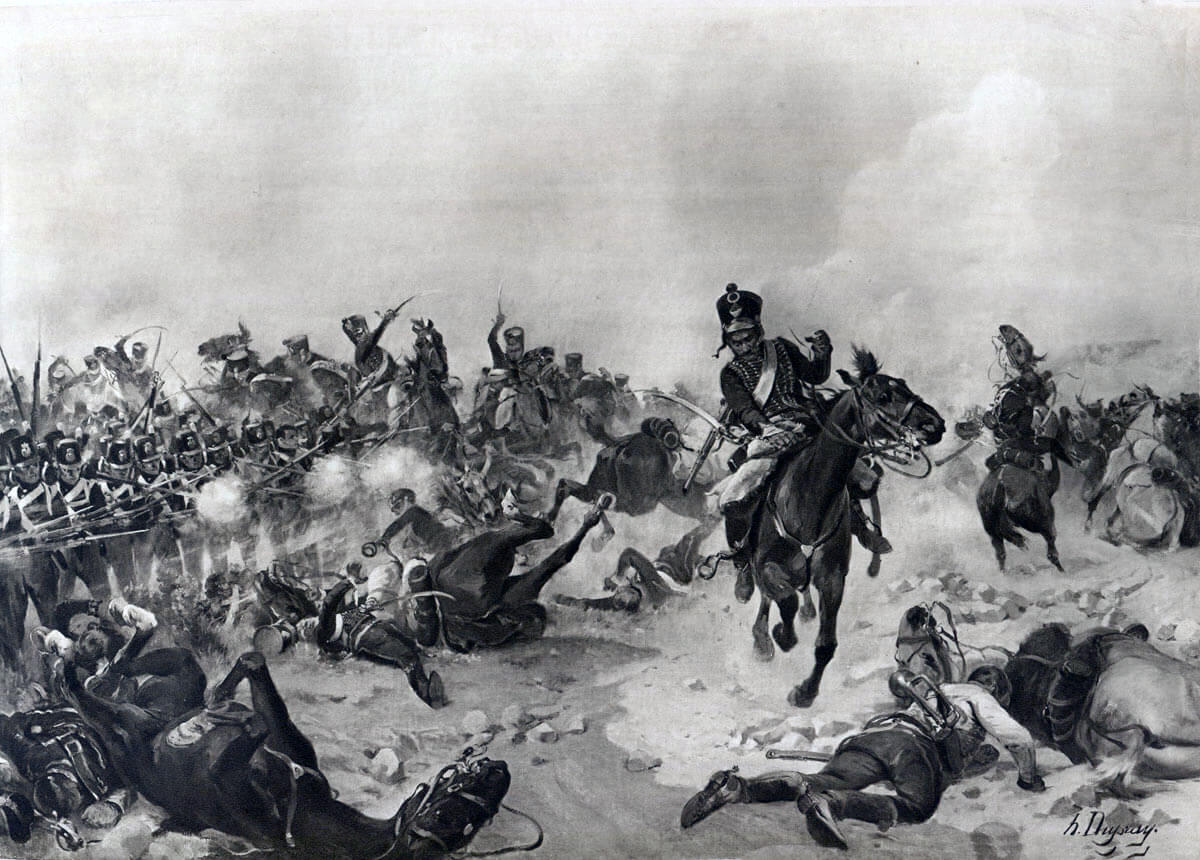 The British Light Division under attack by French cavalry at the Battle of Fuentes de Oñoro 3rd to 5th May 1811 in the Peninsular War: picture by Henri Dupray