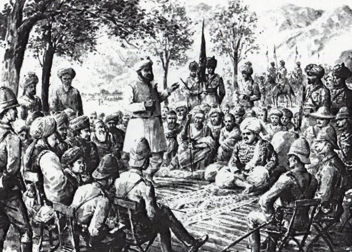 General Blood meets the Mamund jirgas in durbar with the Khans of Nawagai, Jhar and Khar on 11th October 1897: Malakand Field Force, 8th September 1897 to 12th October 1897 on the North-West Frontier of India: drawing by Edmund Hobday