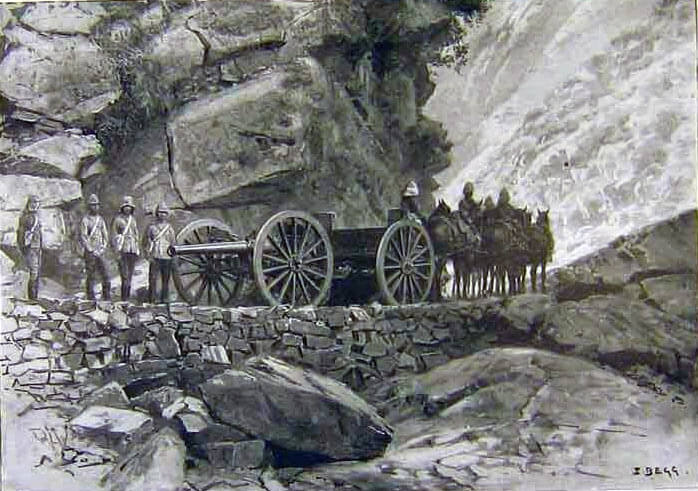 Royal Artillery gunners at Panjkora: Malakand Field Force, 8th September 1897 to 12th October 1897 on the North-West Frontier of India
