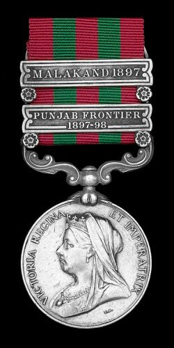 Indian General Service Medal 1854-1895 with the clasps 'Malakand' and 'Punjab Border 1897-1898': Malakand Field Force, 8th September 1897 to 12th October 1897 on the North-West Frontier of India