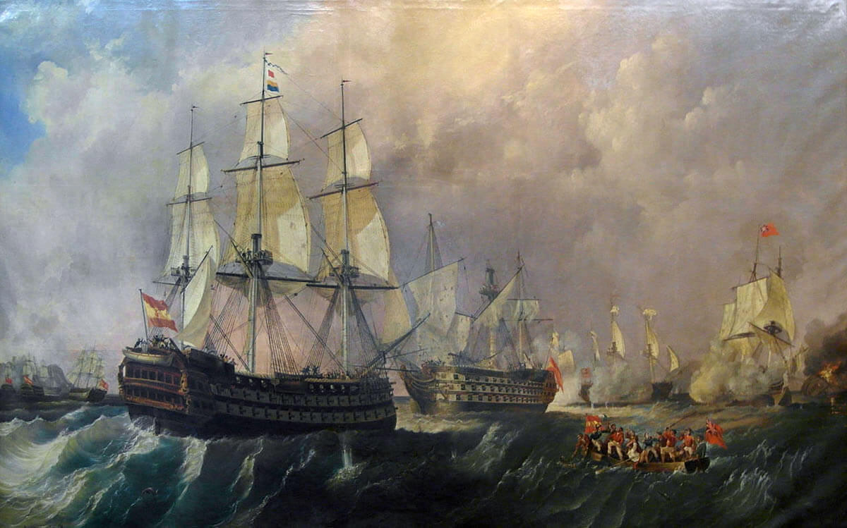 Infante Don Pelayo supporting Santissima Trinidad under attack by British ships at the Battle of Cape St Vincent on 14th February 1797 in the Napoleonic Wars