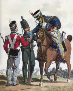 Infantry, Light Infantry and Hussar of the King's German Legion: Battle of Talavera on 28th July 1809 in the Peninsular War: picture by Charles Hamilton Smith