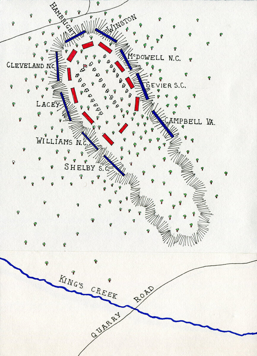 Map of the Battle of King's Mountain on 7th October 1780 in the American Revolutionary War: map by John Fawkes