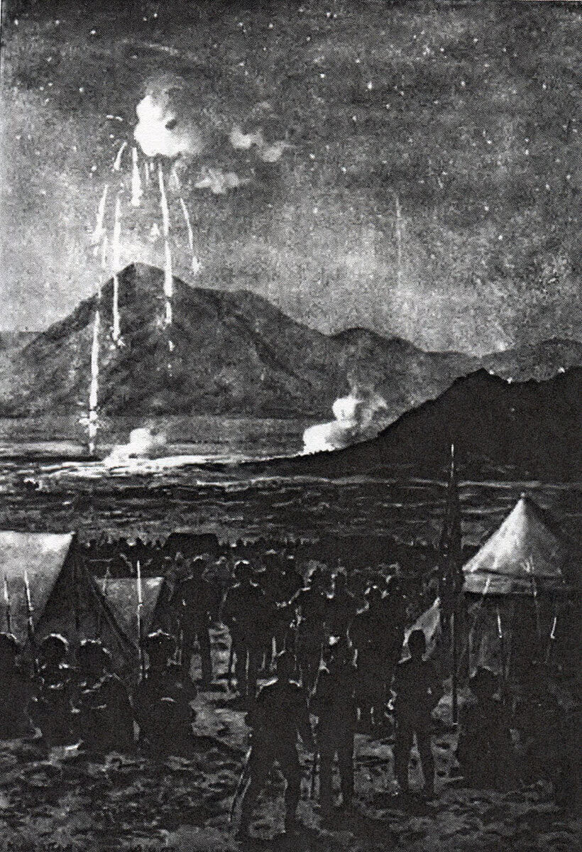 Night attack on the Nawagai Camp on 19th September 1897: Malakand Field Force, 8th September 1897 to 12th October 1897 on the North-West Frontier of India: drawing by Edmund Hobday