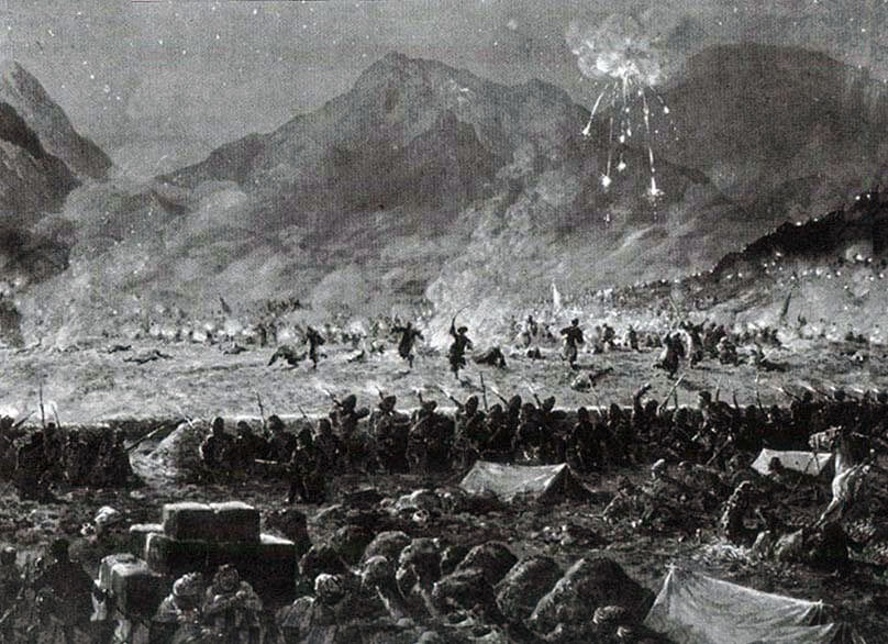 Night attack on the Nawagai Camp on 20th September 1897: Malakand Field Force, 8th September 1897 to 12th October 1897 on the North-West Frontier of India: picture by Edmund Hobday