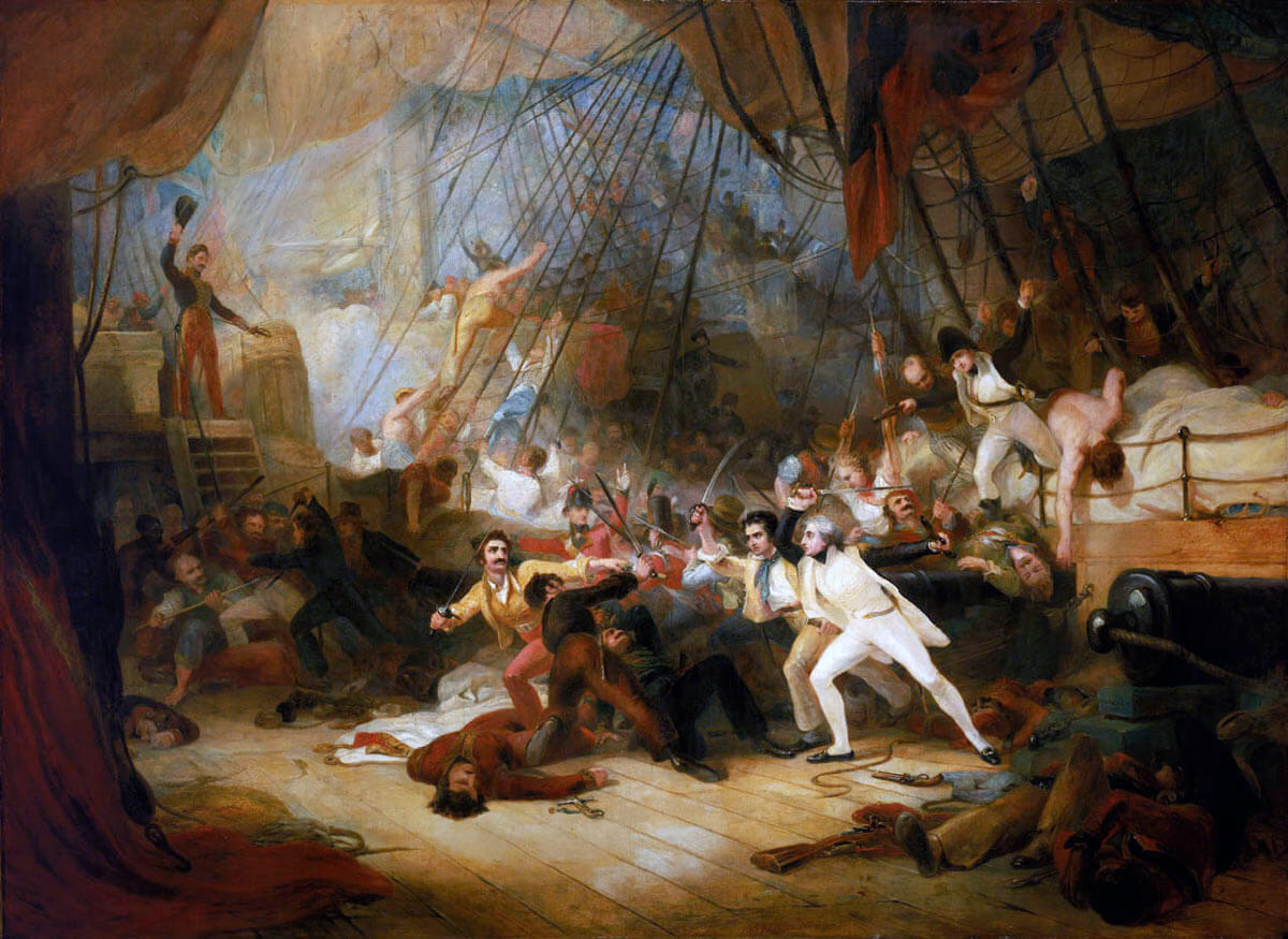 Nelson boarding the San Josef at the Battle of Cape St Vincent on 14th February 1797 in the Napoleonic Wars: picture by George Jones