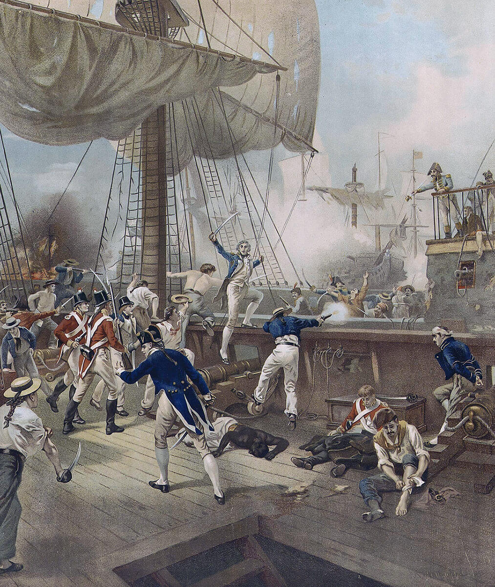 'All Hands to Board': Nelson boarding the San Nicolas at the Battle of Cape St Vincent on 14th February 1797 in the Napoleonic Wars: picture by Robert Hillingford