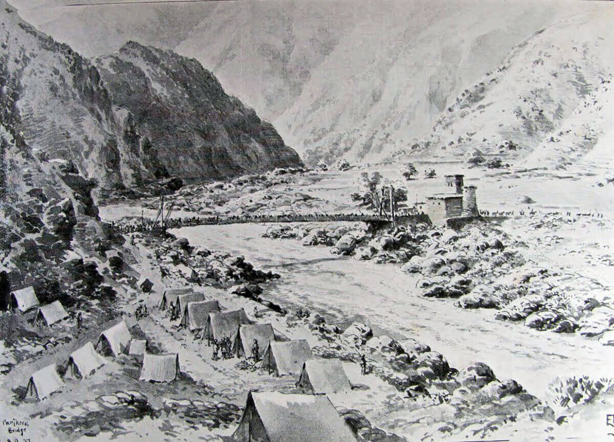 Panjkora River suspension bridge and camp: Malakand Field Force, 8th September 1897 to 12th October 1897 on the North-West Frontier of India: picture by Edmund Hobday