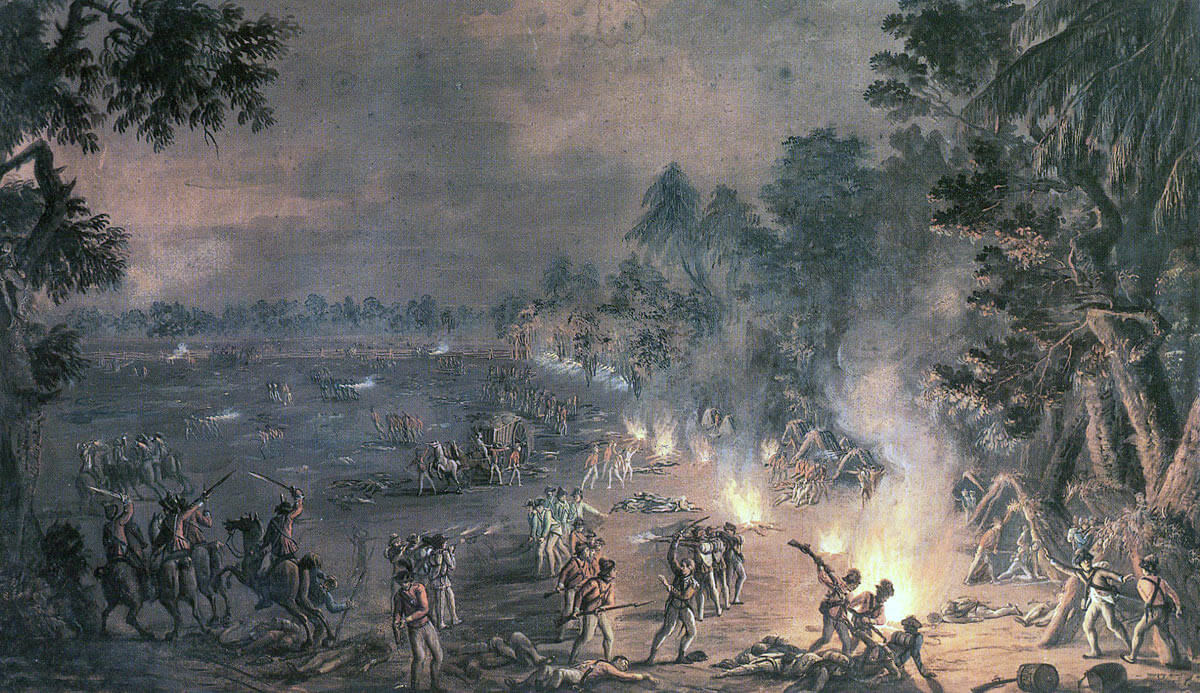 British Light Infantry and Light Dragoons attacking the Pennsylvania camp: Battle of Paoli on 20th/21st September 1777 in the American Revolutionary War: picture by Xavier della Gatta in 1782