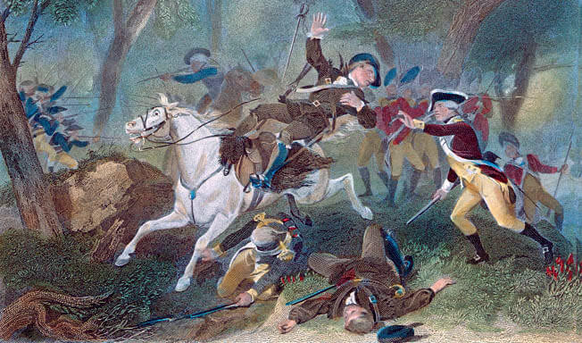 Major Patrick Ferguson falls shot at the Battle of King's Mountain on 7th October 1780 in the American Revolutionary War