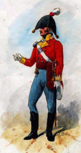 Officer of the 9th East Norfolk Regiment: Battle of Salamanca on 22nd July 1812 during the Peninsular War: picture by Richard Simkin