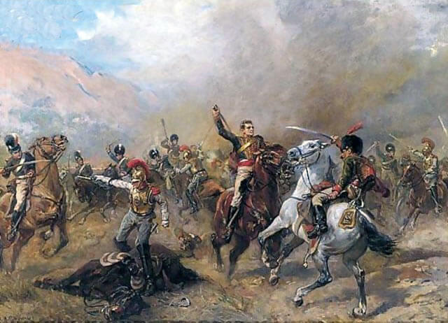 Captain Ramsey leads Bull's Troop through the French Cavalry at the Battle of Fuentes de Oñoro 3rd to 5th May 1811 in the Peninsular War: picture by Robert Shillingford