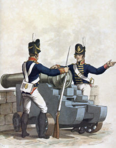 Royal Artillery gunners: Battle of Talavera on 28th July 1809 in the Peninsular War: picture by Charles Hamilton Smith