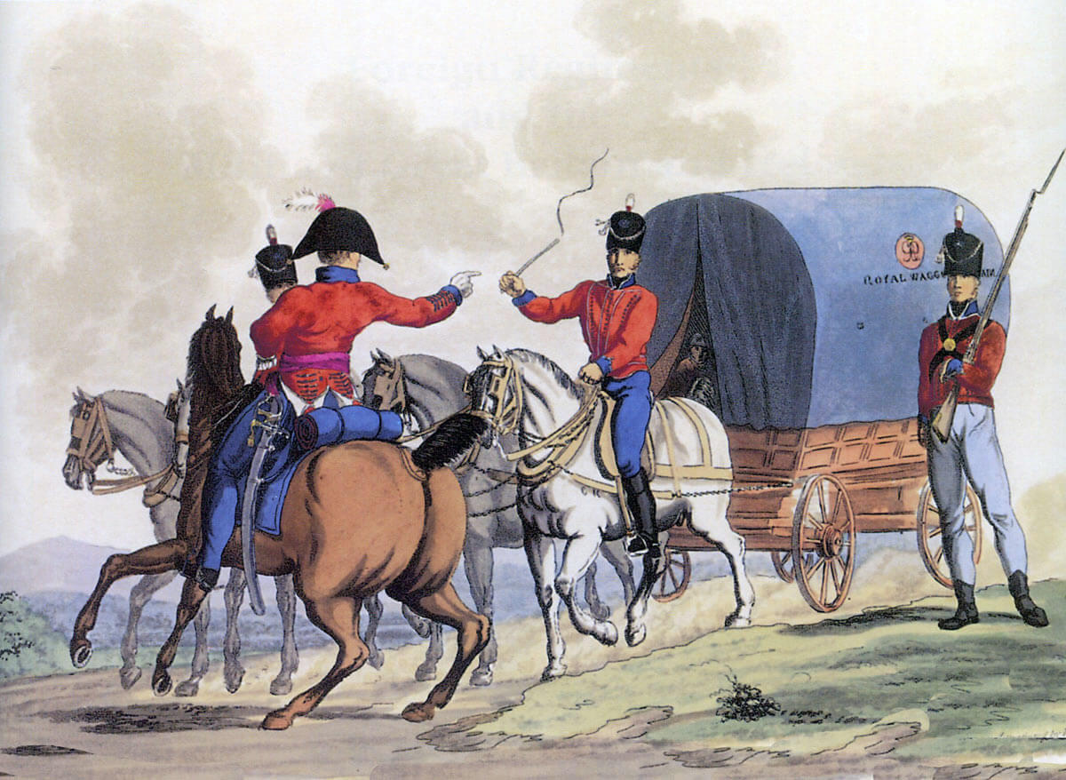 The Royal Wagon Train: Battle of Vitoria on 21st June 1813 during the Peninsular War: picture by Charles Hamilton Smith