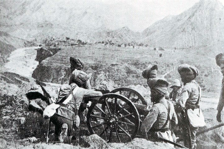 Sikh gunners of a mountain battery: Malakand Field Force, 8th September 1897 to 12th October 1897 on the North-West Frontier of India