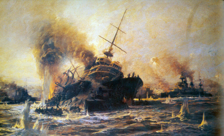 French battleship Bouvet, sinking after hitting a mine: Gallipoli campaign Part I: the Naval Bombardment, March 1915 in the First World War
