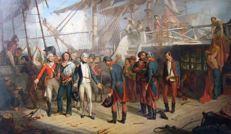 Nelson accepting the surrender of the San Josef at the Battle of Cape St Vincent on 14th February 1797 in the Napoleonic Wars