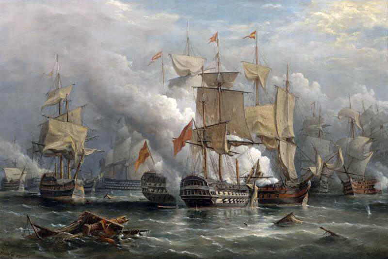 Battle of Cape St Vincent on 14th February 1797 in the Napoleonic Wars: picture by Richard Bridges Beechey
