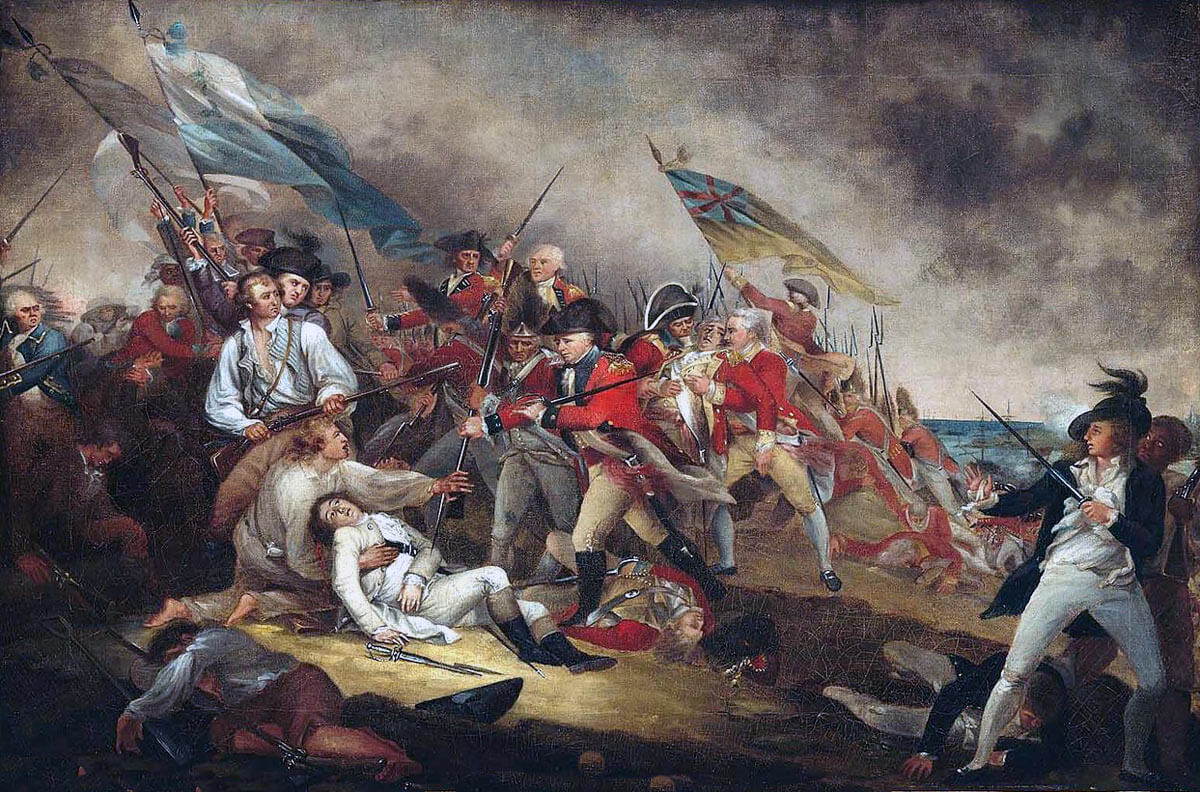 Death of General Warren at the Battle of Bunker Hill on 17th June 1775 in the American Revolutionary War: picture by John Trumbull