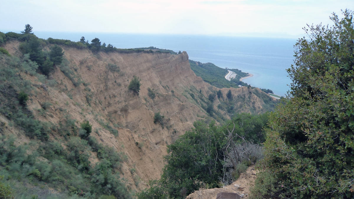 View down Monash and Shrapnell Gullies to ANZAC Cove in 2017: Gallipoli Part III, ANZAC landing on 25th April 1915 in the First World War